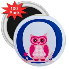 Alphabet Letter O With Owl Illustration Ideal For Teaching Kids 3  Magnets (100 pack)