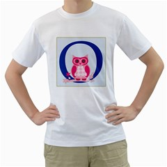 Alphabet Letter O With Owl Illustration Ideal For Teaching Kids Men s T-Shirt (White) (Two Sided)