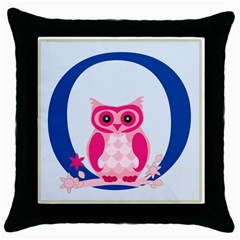 Alphabet Letter O With Owl Illustration Ideal For Teaching Kids Throw Pillow Case (black)
