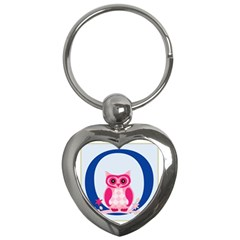 Alphabet Letter O With Owl Illustration Ideal For Teaching Kids Key Chains (heart)