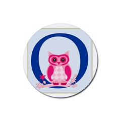 Alphabet Letter O With Owl Illustration Ideal For Teaching Kids Rubber Coaster (Round)