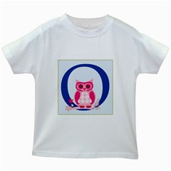 Alphabet Letter O With Owl Illustration Ideal For Teaching Kids Kids White T Shirts