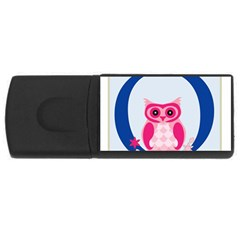Alphabet Letter O With Owl Illustration Ideal For Teaching Kids USB Flash Drive Rectangular (2 GB)