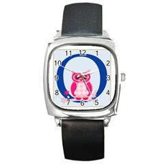 Alphabet Letter O With Owl Illustration Ideal For Teaching Kids Square Metal Watch