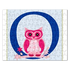 Alphabet Letter O With Owl Illustration Ideal For Teaching Kids Rectangular Jigsaw Puzzl