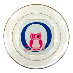 Alphabet Letter O With Owl Illustration Ideal For Teaching Kids Porcelain Plates