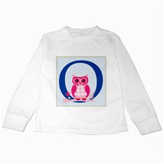 Alphabet Letter O With Owl Illustration Ideal For Teaching Kids Kids Long Sleeve T Shirts