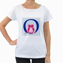Alphabet Letter O With Owl Illustration Ideal For Teaching Kids Women s Loose Fit T Shirt (white)