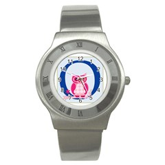 Alphabet Letter O With Owl Illustration Ideal For Teaching Kids Stainless Steel Watch