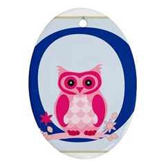 Alphabet Letter O With Owl Illustration Ideal For Teaching Kids Oval Ornament (Two Sides)