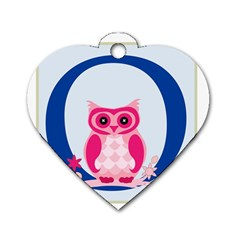Alphabet Letter O With Owl Illustration Ideal For Teaching Kids Dog Tag Heart (one Side)