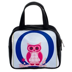 Alphabet Letter O With Owl Illustration Ideal For Teaching Kids Classic Handbags (2 Sides)