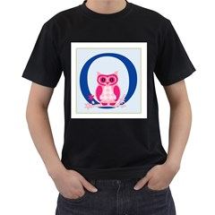 Alphabet Letter O With Owl Illustration Ideal For Teaching Kids Men s T-Shirt (Black)