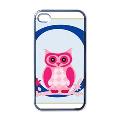 Alphabet Letter O With Owl Illustration Ideal For Teaching Kids Apple Iphone 4 Case (black)