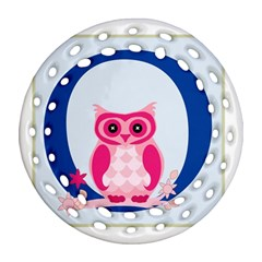 Alphabet Letter O With Owl Illustration Ideal For Teaching Kids Round Filigree Ornament (Two Sides)