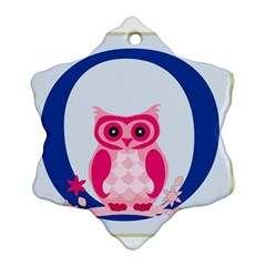 Alphabet Letter O With Owl Illustration Ideal For Teaching Kids Snowflake Ornament (two Sides)
