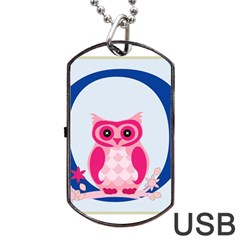 Alphabet Letter O With Owl Illustration Ideal For Teaching Kids Dog Tag USB Flash (One Side)