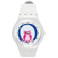 Alphabet Letter O With Owl Illustration Ideal For Teaching Kids Round Plastic Sport Watch (m)