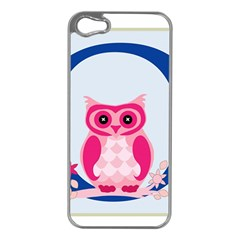 Alphabet Letter O With Owl Illustration Ideal For Teaching Kids Apple iPhone 5 Case (Silver)