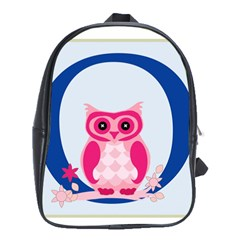 Alphabet Letter O With Owl Illustration Ideal For Teaching Kids School Bags (XL)