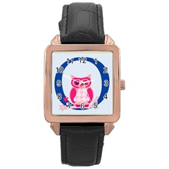 Alphabet Letter O With Owl Illustration Ideal For Teaching Kids Rose Gold Leather Watch