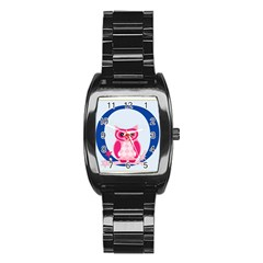 Alphabet Letter O With Owl Illustration Ideal For Teaching Kids Stainless Steel Barrel Watch