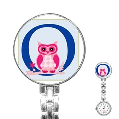 Alphabet Letter O With Owl Illustration Ideal For Teaching Kids Stainless Steel Nurses Watch