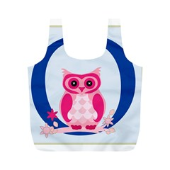 Alphabet Letter O With Owl Illustration Ideal For Teaching Kids Full Print Recycle Bags (m)
