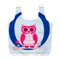Alphabet Letter O With Owl Illustration Ideal For Teaching Kids Full Print Recycle Bags (L)