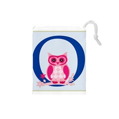 Alphabet Letter O With Owl Illustration Ideal For Teaching Kids Drawstring Pouches (Small)