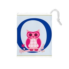 Alphabet Letter O With Owl Illustration Ideal For Teaching Kids Drawstring Pouches (medium)