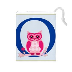 Alphabet Letter O With Owl Illustration Ideal For Teaching Kids Drawstring Pouches (Large)