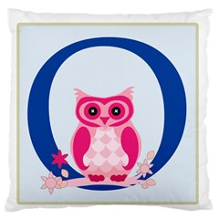 Alphabet Letter O With Owl Illustration Ideal For Teaching Kids Large Flano Cushion Case (one Side)