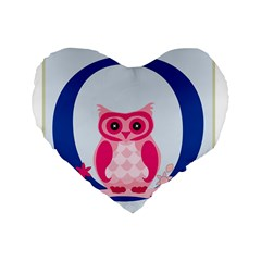 Alphabet Letter O With Owl Illustration Ideal For Teaching Kids Standard 16  Premium Flano Heart Shape Cushions