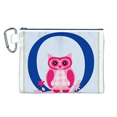 Alphabet Letter O With Owl Illustration Ideal For Teaching Kids Canvas Cosmetic Bag (L)