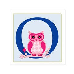Alphabet Letter O With Owl Illustration Ideal For Teaching Kids Small Satin Scarf (Square)