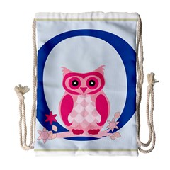 Alphabet Letter O With Owl Illustration Ideal For Teaching Kids Drawstring Bag (Large)