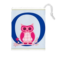 Alphabet Letter O With Owl Illustration Ideal For Teaching Kids Drawstring Pouches (Extra Large)