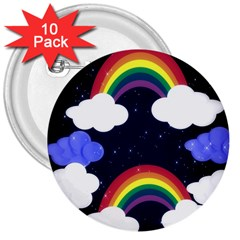 Rainbow Animation 3  Buttons (10 pack)