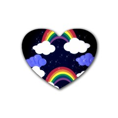 Rainbow Animation Rubber Coaster (heart)
