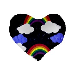 Rainbow Animation Standard 16  Premium Heart Shape Cushions
