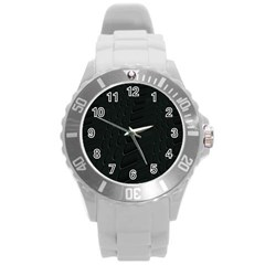 Abstract Clutter Round Plastic Sport Watch (l)