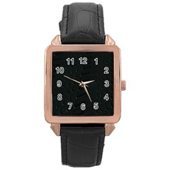Abstract Clutter Rose Gold Leather Watch