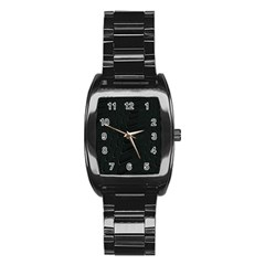 Abstract Clutter Stainless Steel Barrel Watch
