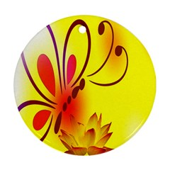 Butterfly Background Wallpaper Texture Ornament (Round)