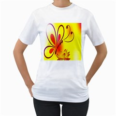 Butterfly Background Wallpaper Texture Women s T-Shirt (White) (Two Sided)