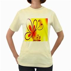 Butterfly Background Wallpaper Texture Women s Yellow T Shirt