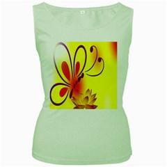 Butterfly Background Wallpaper Texture Women s Green Tank Top