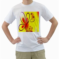 Butterfly Background Wallpaper Texture Men s T-Shirt (White) (Two Sided)