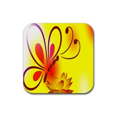Butterfly Background Wallpaper Texture Rubber Square Coaster (4 Pack)